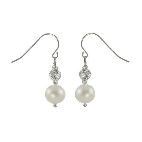 Sterling Silver Freshwater Cultured Pearl Bead Drop Earrings