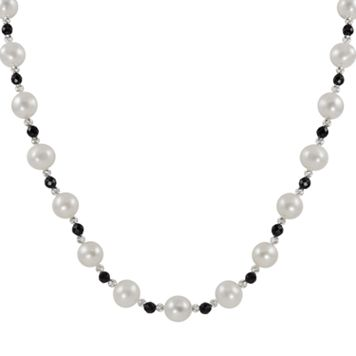 Sterling Silver Freshwater Cultured Pearl & Onyx Bead Necklace