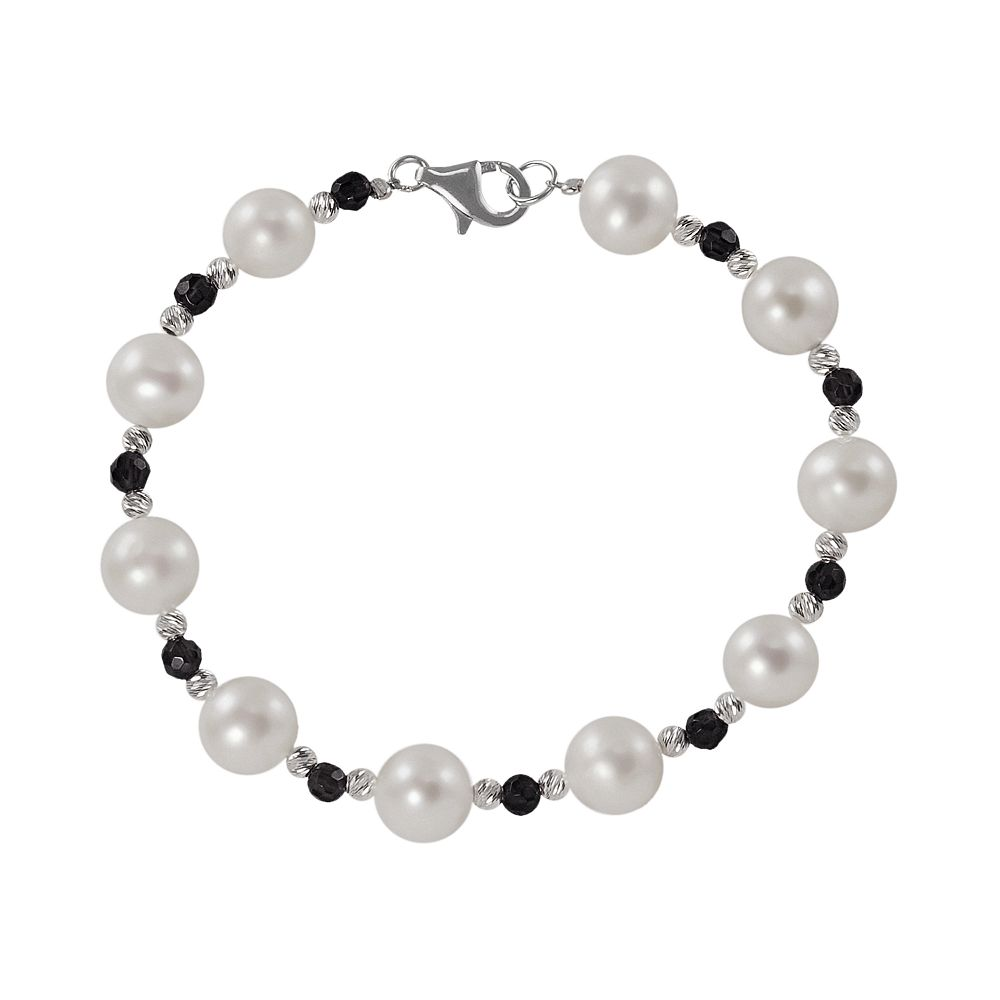 Sterling Silver Freshwater Cultured Pearl & Onyx Bead Bracelet