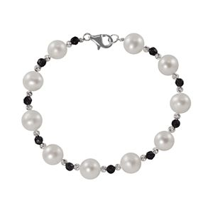 Sterling Silver Freshwater Cultured Pearl and Onyx Bead Bracelet
