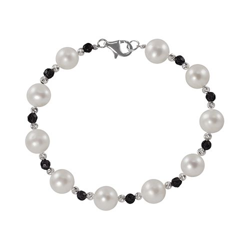 Sterling Silver Freshwater Cultured Pearl & Onyx Bead Bracelet