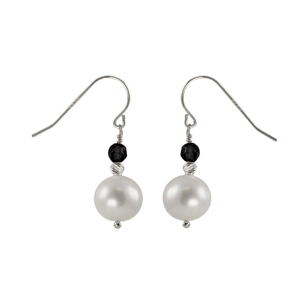 Sterling Silver Freshwater Cultured Pearl & Onyx Bead Drop Earrings