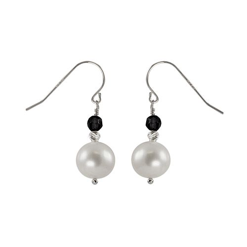 Sterling Silver Freshwater Cultured Pearl & Onyx Bead Drop Earrings