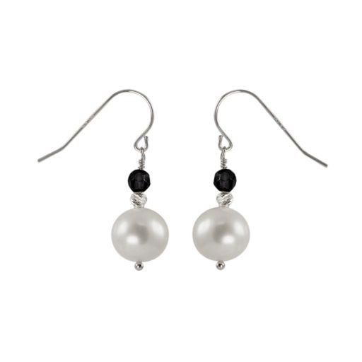 Sterling Silver Freshwater Cultured Pearl and  Onyx Bead Drop Earrings