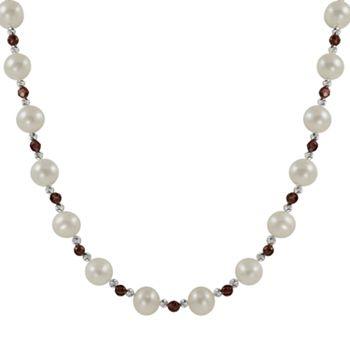 Sterling Silver Freshwater Cultured Pearl and Garnet Bead Necklace