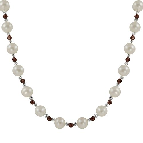 Sterling Silver Freshwater Cultured Pearl & Garnet Bead Necklace
