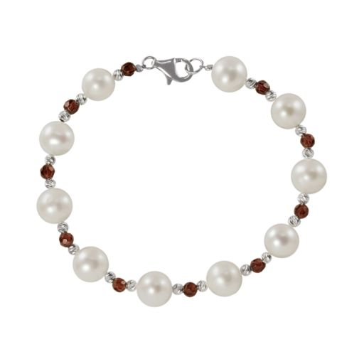 Sterling Silver Freshwater Cultured Pearl and Garnet Bead Bracelet