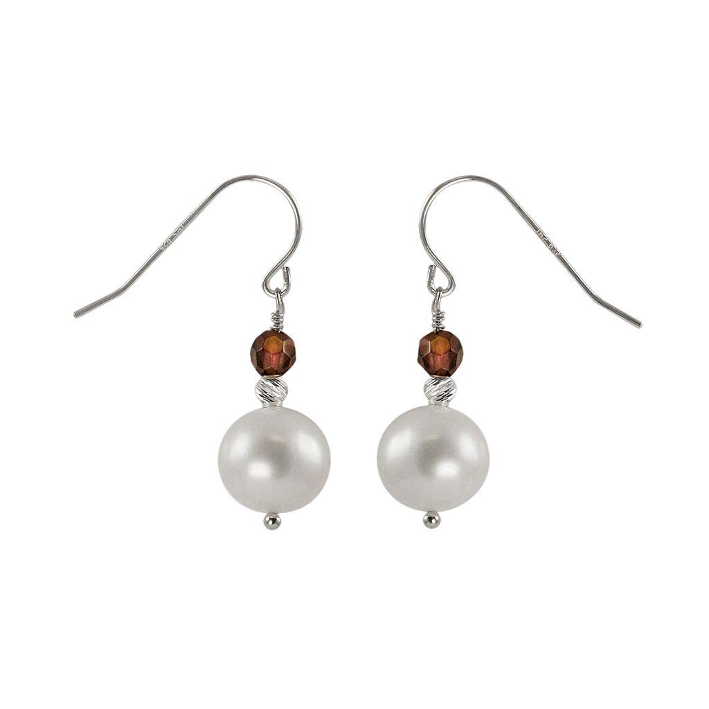 Sterling Silver Freshwater Cultured Pearl & Garnet Bead Drop Earrings