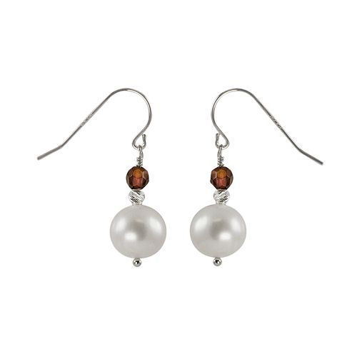 Sterling Silver Freshwater Cultured Pearl & Garnet Bead Drop Earrings