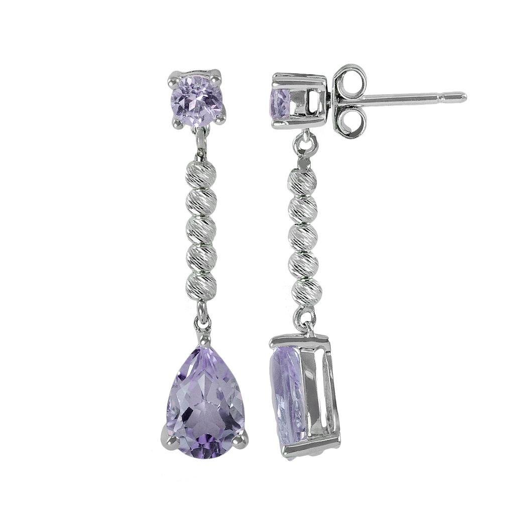 Sterling Silver Amethyst Bead Linear Drop Earrings