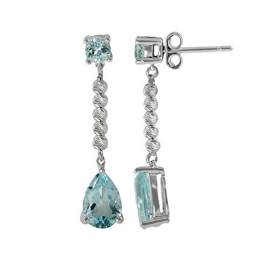 Sterling Silver Blue Topaz Bead Linear Drop Earrings