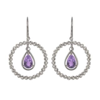 Sterling Silver Amethyst Bead Hoop Drop Earrings