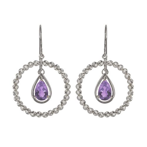 Sterling Silver Amethyst Bead Hoop Drop Earrings