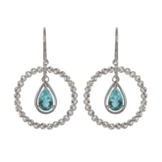 Sterling Silver Blue Topaz Bead Hoop Drop Earrings