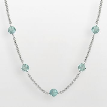 Sterling Silver Blue Topaz Bead Station Necklace