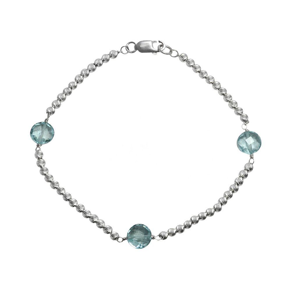 Sterling Silver Blue Topaz Bead Bracelet