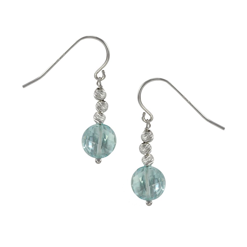 Sterling Silver Blue Topaz Bead Drop Earrings