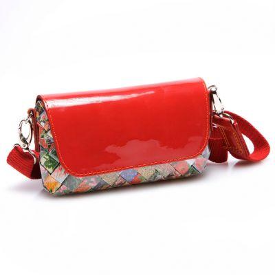 Leather Crossbody Handbag on Arm Candy Pouchette Flowers Candy Wrapper Leather Cross Body Handbag