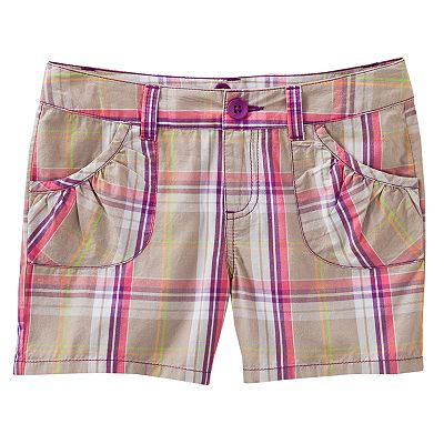 SO Plaid Woven Shorts - Girls' Plus