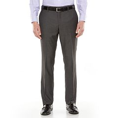 Men's Savile Row Sharkskin Flat-Front Gray Suit Pants