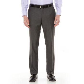 Men's Savile Row Sharkskin Flat-Front Gray Suit Pants