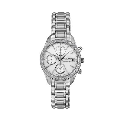 Seiko Stainless Steel Crystal & Mother-of-Pearl Chronograph Watch - SNDY21 - Women