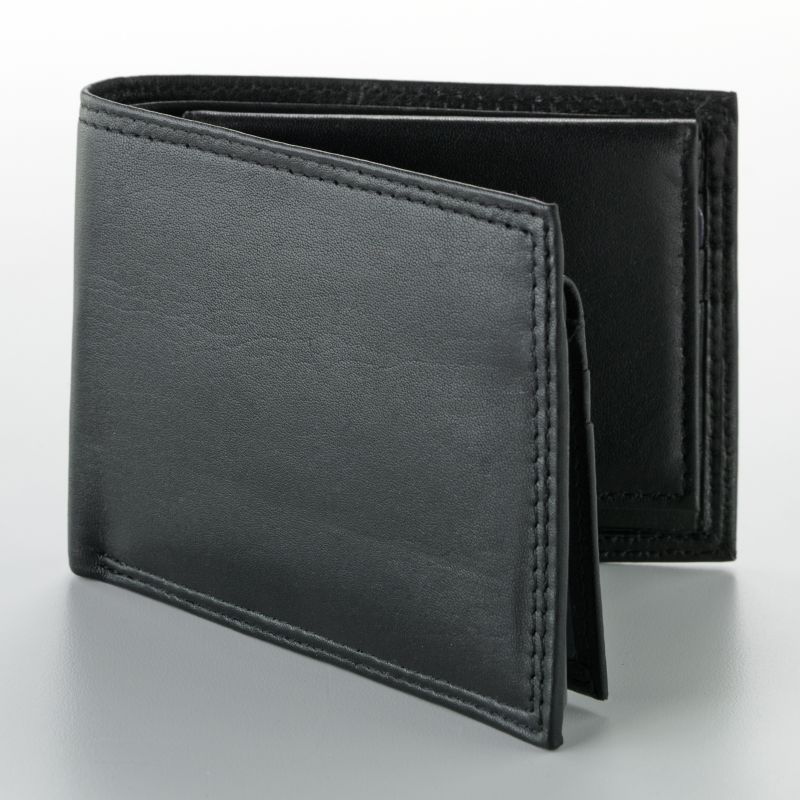 Buxton Double ID Leather Billfold Wallet with Card Case, Men's, Black