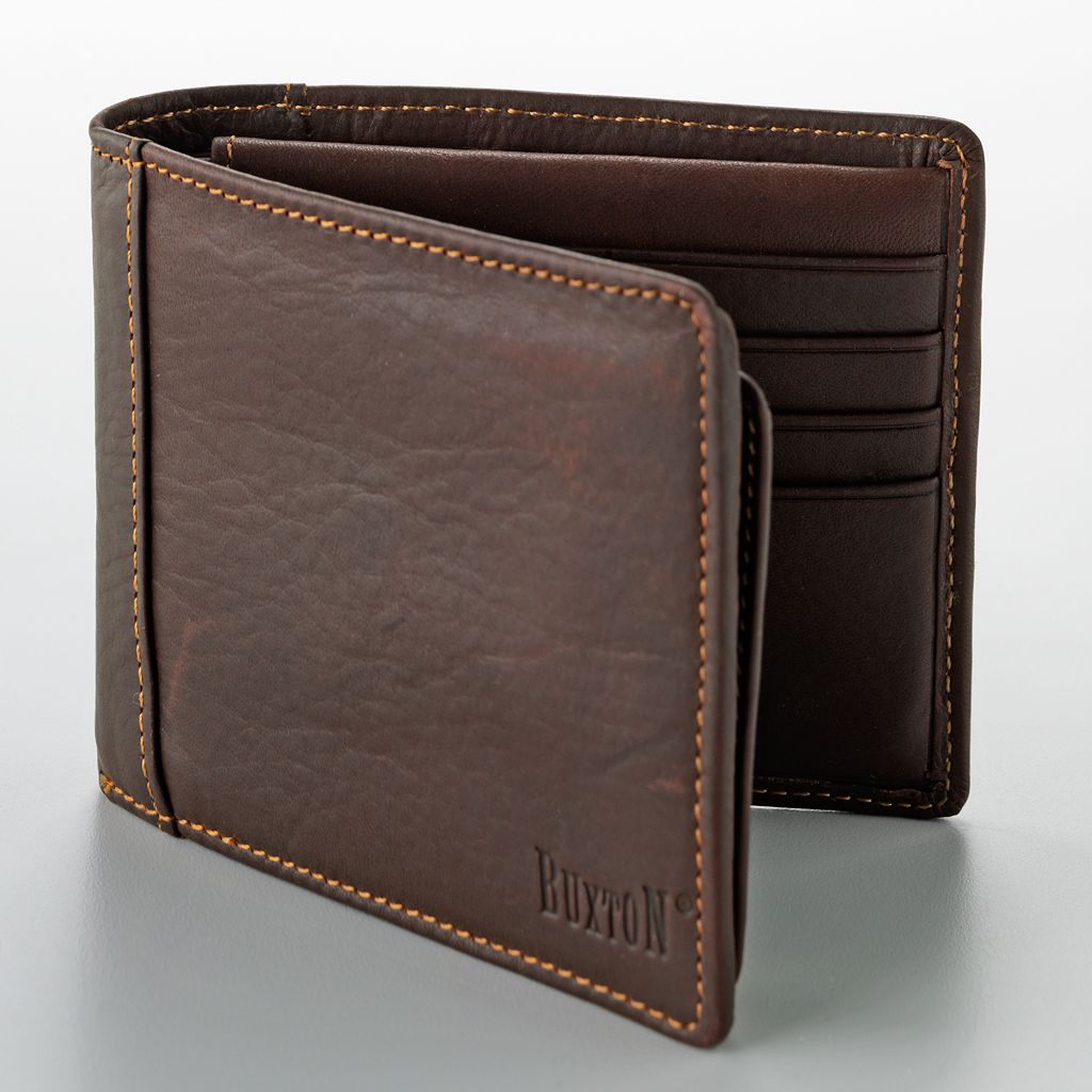 Buxton Convertible Leather Thinfold Wallet with Card Case