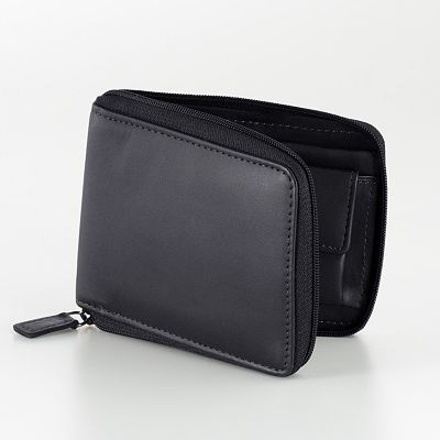DOPP Leather Zip-Around Convertible Bifold Wallet