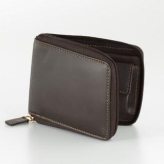 DOPP Leather Zip-Around Convertible Bifold Wallet