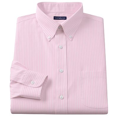 Croft and Barrow Fitted Striped No-Iron Button-Down Collar Dress Shirt