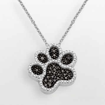 Sterling Silver 1/3-ct. T.W. Black & White Diamond Dog Paw Pendant