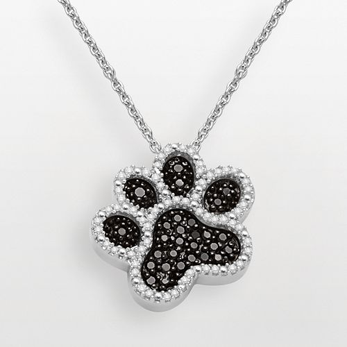 Sterling Silver 1/3-ct. T.W. Black & White Diamond Dog Paw Pendant