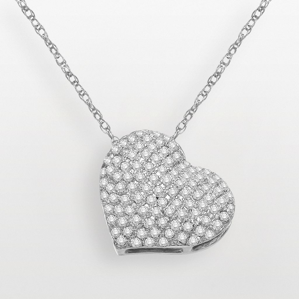 14k White Gold 3/5-ct. T.W. Diamond Heart Pendant