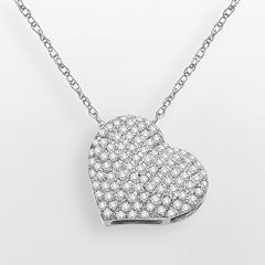14k White Gold 3/5-ct. T.W. Diamond Heart Pendant