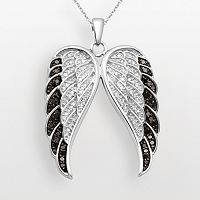 Sterling Silver 1/2-ct. T.W. Black & White Diamond Wing Pendant