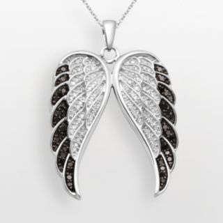 Sterling Silver 1/2-ct. T.W. Black and White Diamond Wing Pendant
