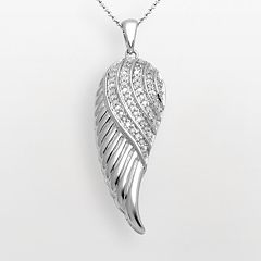 Sterling Silver 1/10-ct. T.W. Diamond Angel Wing Pendant