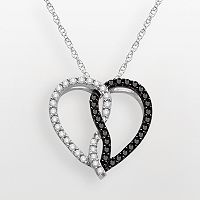 Sterling Silver 1/2-ct. T.W. Black & White Diamond Heart Pendant
