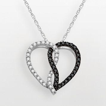 Sterling Silver 1/2-ct. T.W. Black & White Diamond Heart Pendant