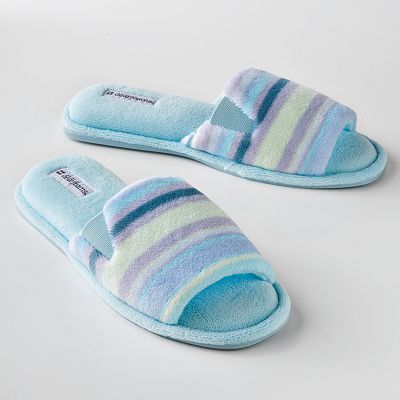 Dearfoams Striped Microfiber Terry Slippers