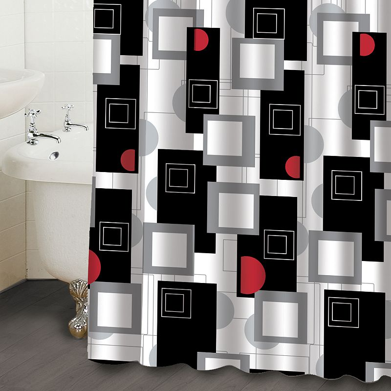 famous home fashions urban beat geometric fabric shower