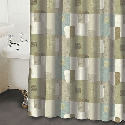 Famous Home Fashions Mezzo Checkered Fabric Shower Curtain