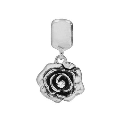 Individuality Beads Sterling Silver Crystal Rose Charm