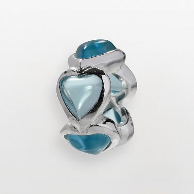Individuality Beads Sterling Silver Simulated Aquamarine Heart Bead