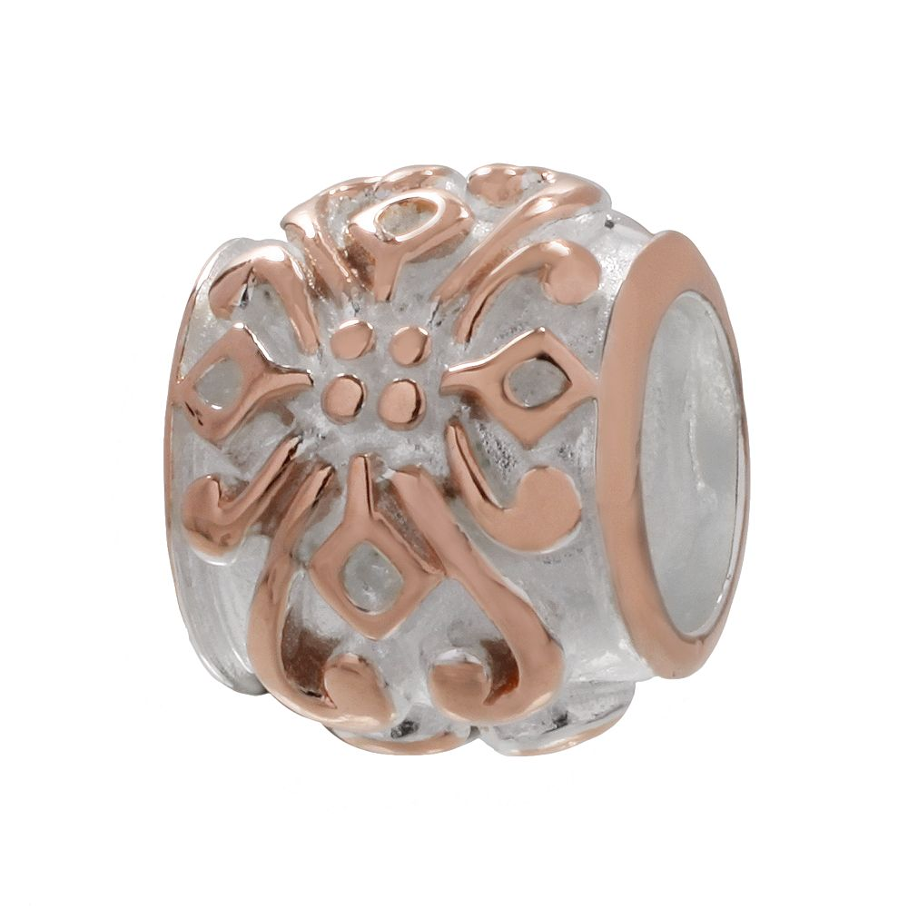 Individuality Beads 14k Rose Gold Over Silver & Sterling Silver Flower Bead