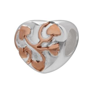 Individuality Beads 14k Rose Gold Over Silver and Sterling Silver Heart Bead