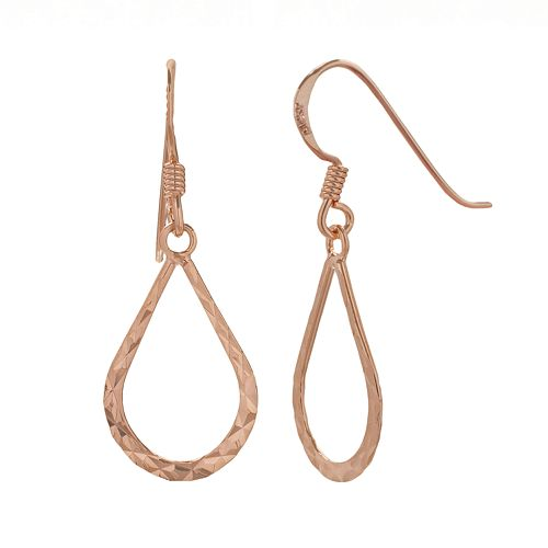 14k Rose Gold Over Silver Textured Teardrop Earrings