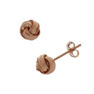 14k Rose Gold Over Silver Love Knot Stud Earrings