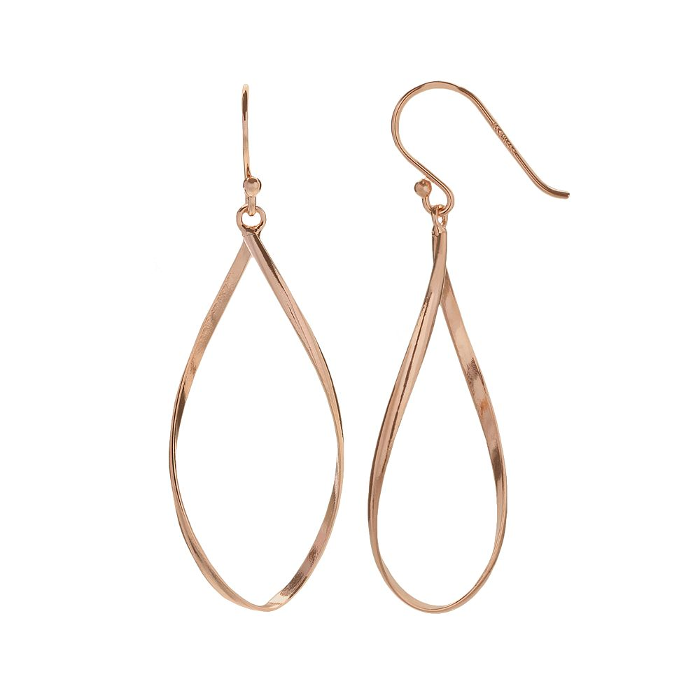 18k Rose Gold Over Silver Twist Teardrop Earrings
